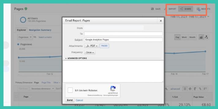 Google Analytics Report via E-Mail versenden