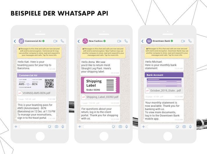 WhatsApp-Notifications erhöhen den Komfort enorm: Egal ob beim Boarding-Pass, dem Retourenschein oder dem Kontoauszug.