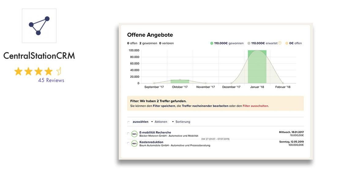CentralStationCRM CRM-System für kleine und mittlere Unternehmen mit Bewertung und Screenshot