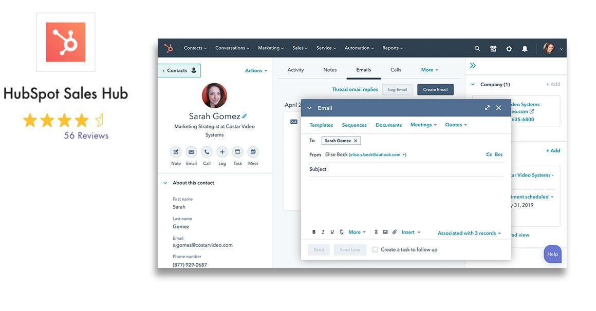 HubSpot Sales Hub CRM-System für kleine und mittlere Unternehmen mit Bewertung und Screenshot