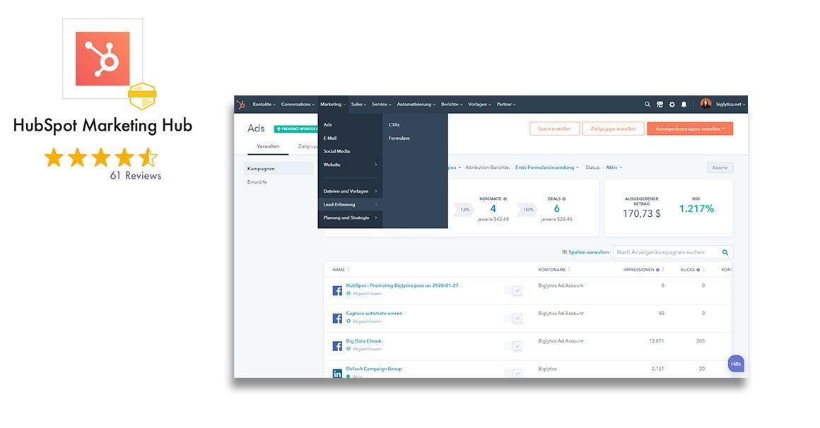 HubSpot Marketing Hub mit Bewertung und Screenshot