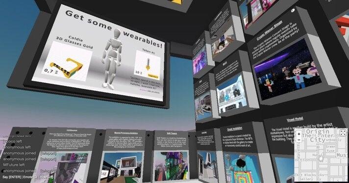 Willkommen im Metaverse! Links oben ist eine von Sven Venzke-Caprareses Plakatflächen zu sehen. Rechts und darunter die Portale, über sie sich seine anderen Parzellen und besondere Bauwerke erreichen lassen.