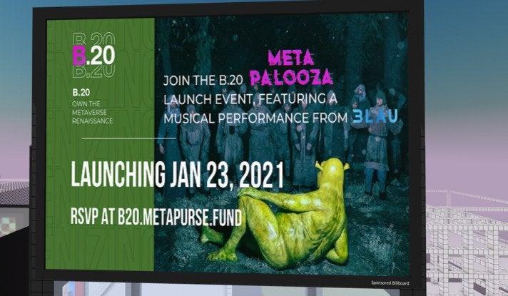 Motiv aus der Kampagne, mit der NFT-Sammler Metakovan sein Kunstfestival Metapalooza beworben hat