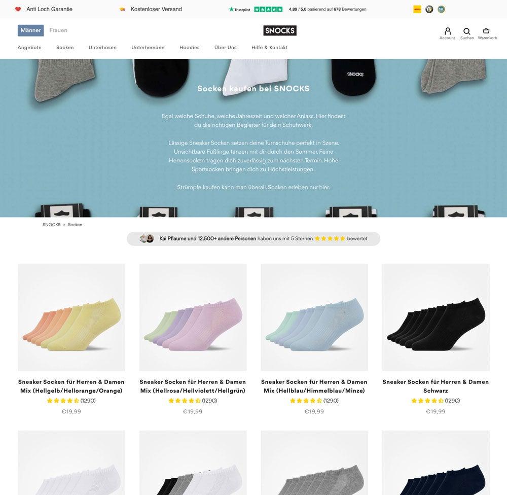 Kategorieseite des Snocks Onlineshops mit Sneakersocken