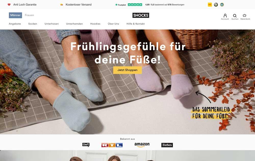 Startseite des Snocks Onlineshops, der mit Shopify erstellt wurde