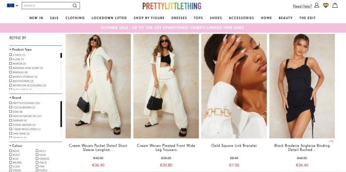 PrettyLittleThing Online-Shop