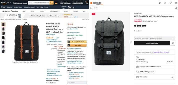 Information vs. Inspiration: Produktpräsentation eines Rucksacks auf Amazon (links) und Zalando (rechts) im direkten Vergleich