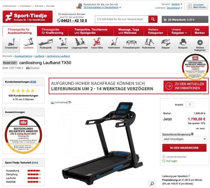 Bei der Produktpräsentation legt Sport Tiedje neben prominenter Platzierung externer und eigener Reviews Wert auf sehr ausführliche Beschreibungen