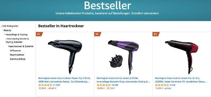 Die aktuell bestverkauften Haartrockner auf Amazon (Screenshot von Amazon.de)