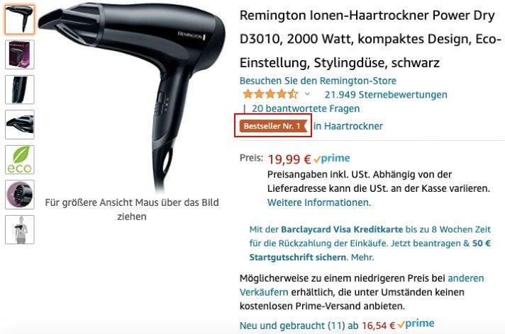 Das Bestseller Badge auf einer Produkt-Detailseite (Screenshot von Amazon.de)