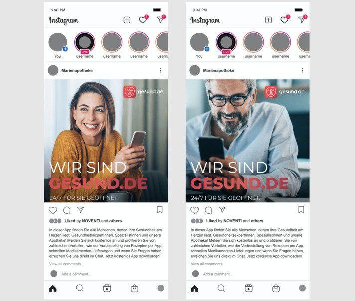 Achenbach will auch die Social-Media-Kanäle der Apotheken nutzen, um Reichweite für gesund.de zu generieren. Zweimal pro Woche neuer Content für Posts und Stories bereitgestellt