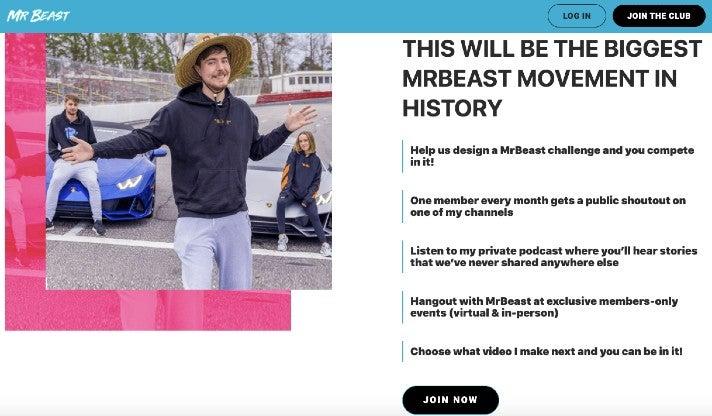 Ein Screenshot von MrBeastCrew.com