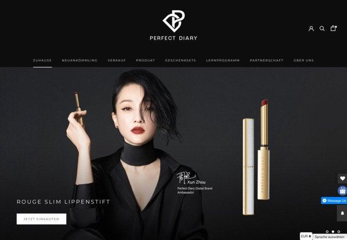 Screenshot der internationalen Website von Perfect Diary. Deren Text wird offenbar automatisch übersetzt. In den Warenkorb gelegte Artikel können bislang allerdings nur in ausgewählte asiatische Länder verschickt werden.