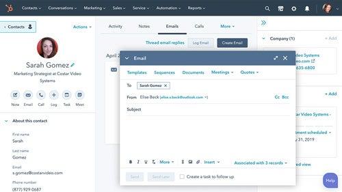 HubSpot Sales Hub Screenshot