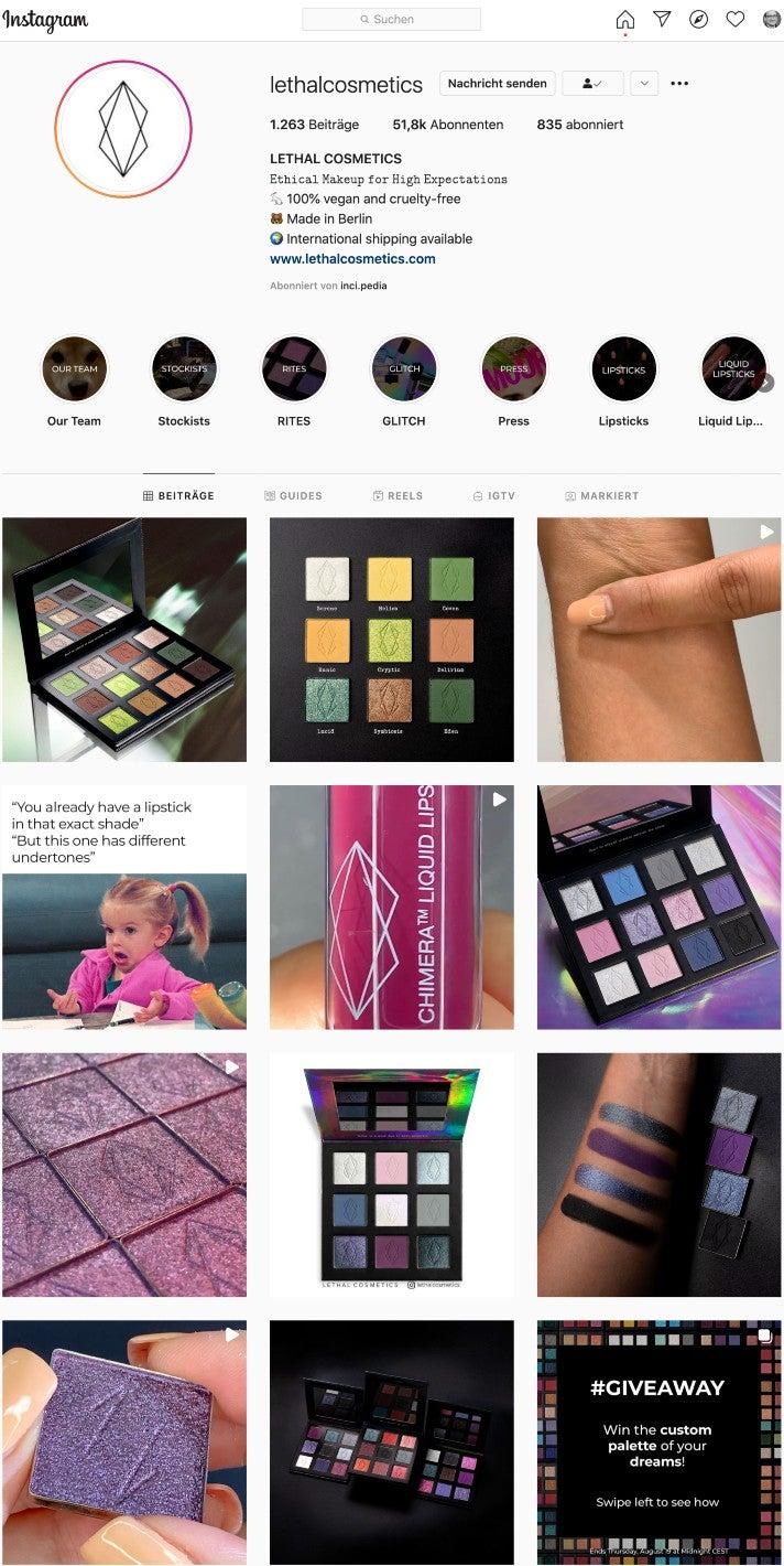 Ein Blick auf den Instagram Account von Lethal Cosmetics