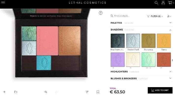 """Der """"Palette Designer"""" von Lethal Cosmetics, ein Online-Baukasten, mit dem die Kund:innen sich ein individuelles Produkt zusammenstellen können"""