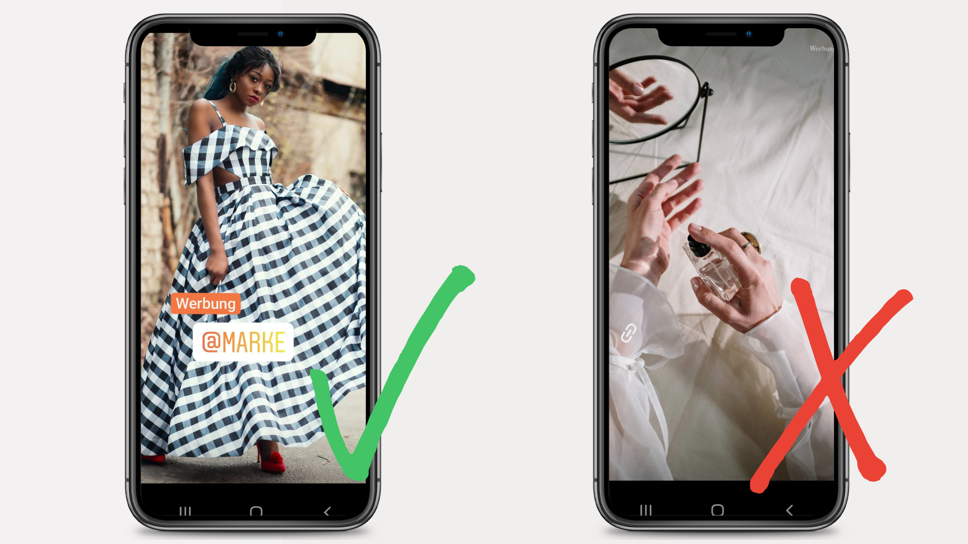 Beispiel für Instagram-Werbung richtig kennzeichnen in IG-Story: Werbung deutlich und sichtbar gesetzt vs. Werbung schlecht lesbar