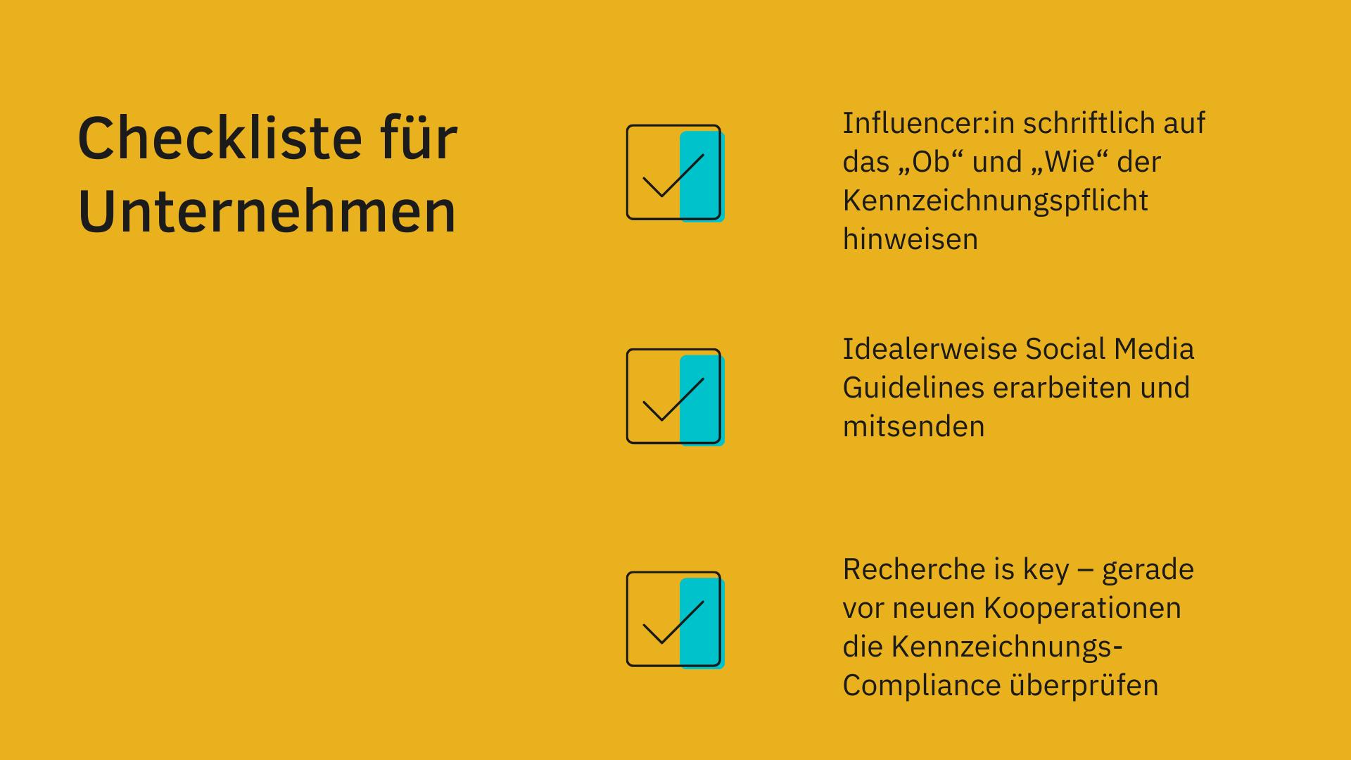 Checkliste zur Kennzeichnungspflicht von Instagram-Werbung für UN