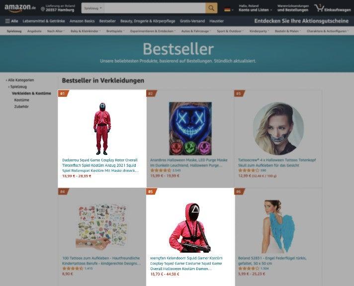 Bestseller im Bereich Verkleidungen für Männer auf Amazon.de: Auf Platz 1 und Platz 5 liegen Squid-Game-Kostüme (bearbeiteter Screenshot)