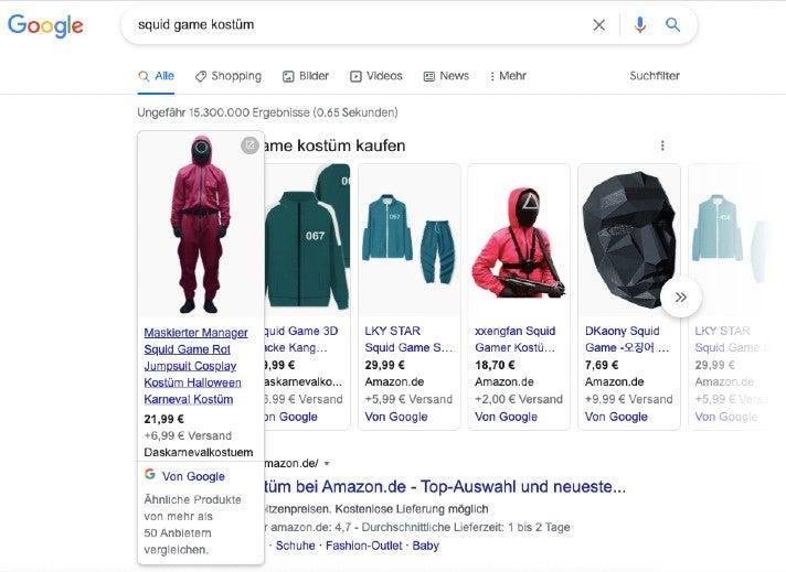 """Ergebnis für eine Google-Suche nach """"squid game kostüm"""": Das erste bezahlte Suchergebnis führt zum Shop Daskarnevalkostuem.de"""