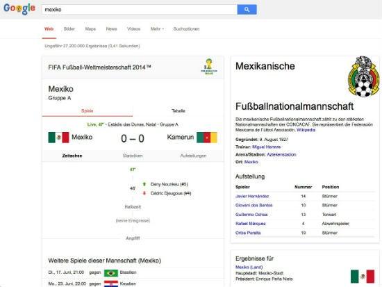 """Screenshot einer Suche nach """"Mexiko"""" während des Spiels Mexiko gegen Kamerun"""