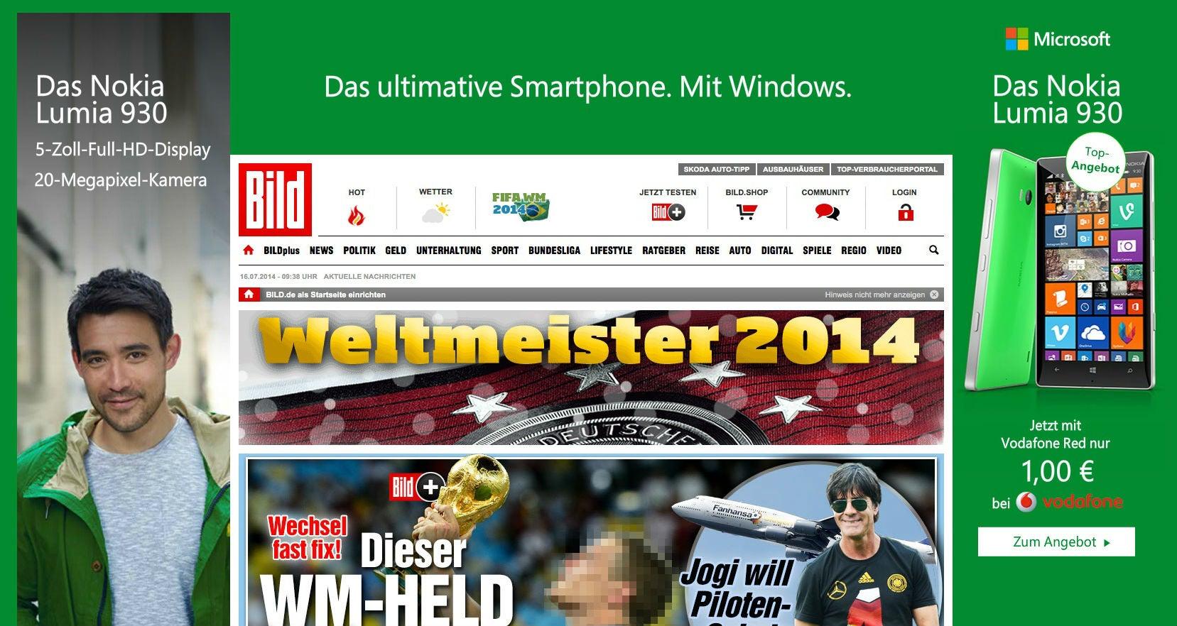 Ungezielte Werbeansprache mit Bannerwerbung (bild.de)