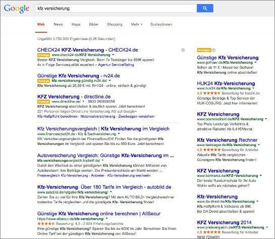 Suchergebnisseite für einen kommerziellen Begriff mit Google Adwords Anzeigen