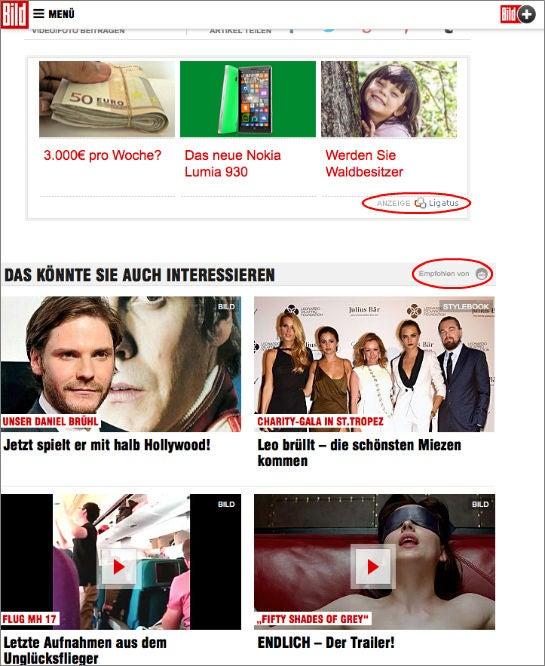 Anzeigen von Ligatus und Content-Empfehlungen von Outbrain auf Bild.de (Screenshot)