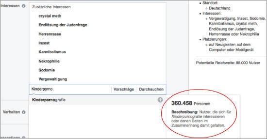 Targeting-Kategorien im Buchungs-Tool von Facebook (Screenshot)
