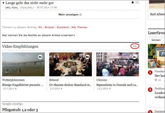 Video-Empfehlungen von Veeseo auf faz.net (Screenshot)