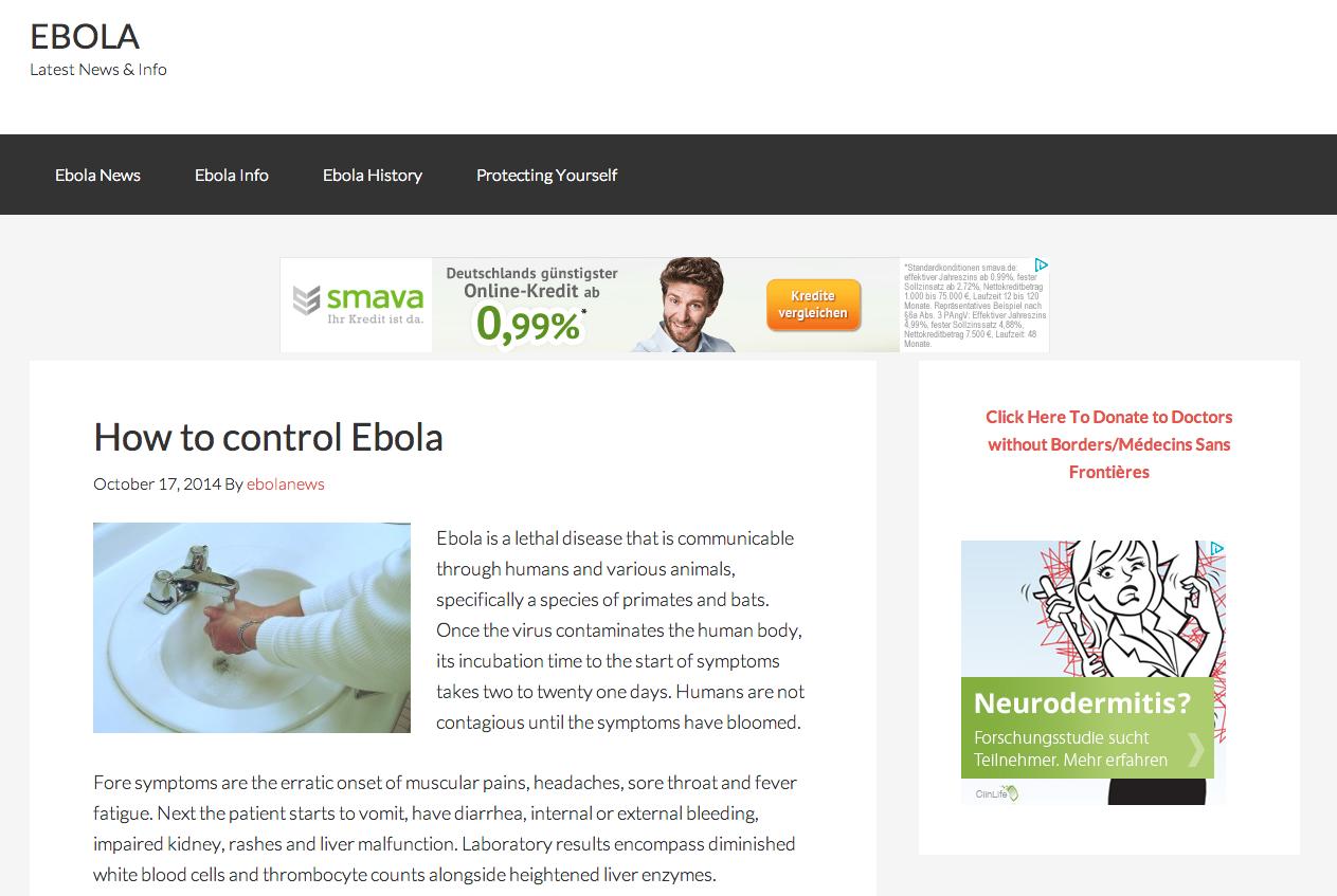 Screenshot: ebola.com