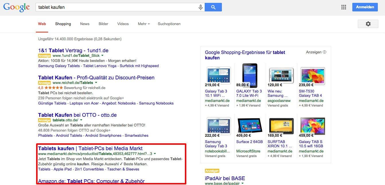 """Google-Suche: """"tablet kaufen"""""""