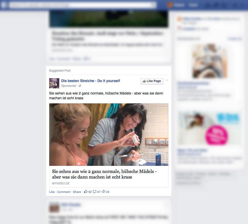 """Diese Anzeige führte zu einem Video aus der Sendung """"We love Lloret"""" auf dem Pro-Sieben-Sat1-Portal Myvideo"""