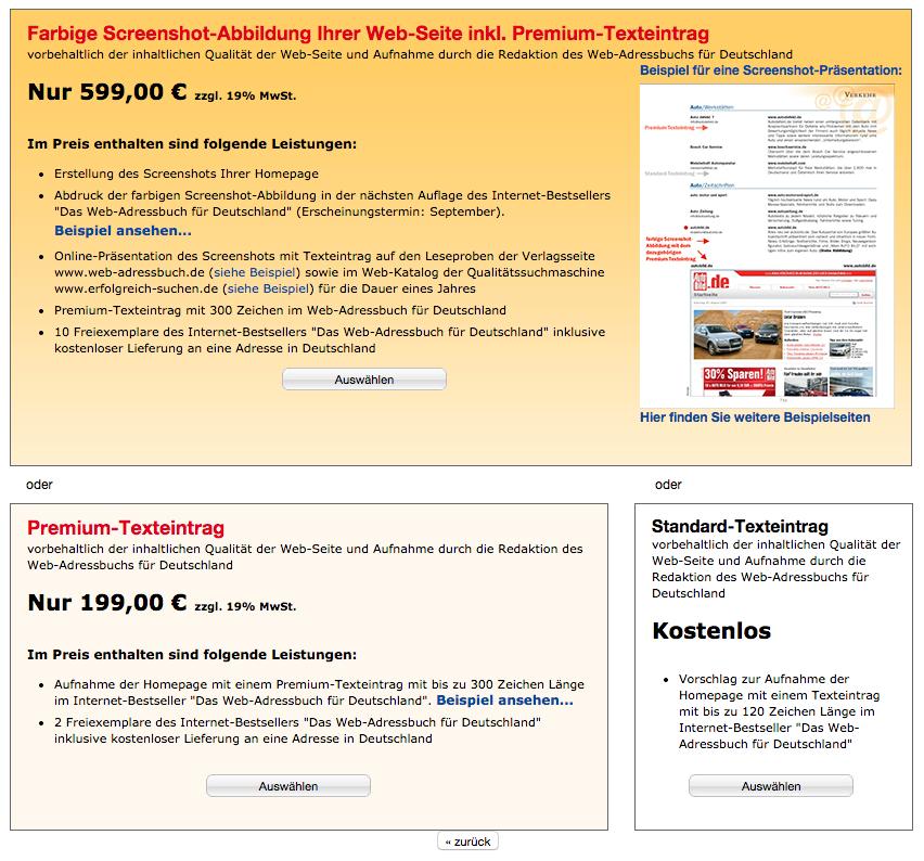 Screenshot: Werbemöglichkeiten beim Web-Adressbuch