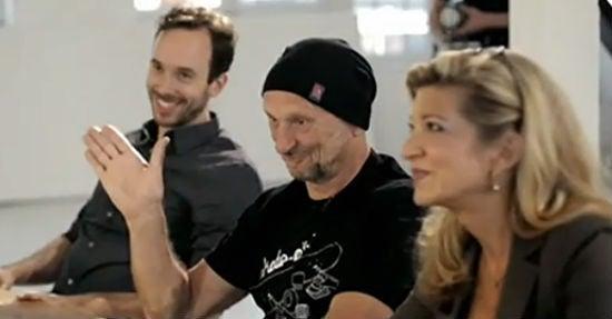"""Screenshot von ZDF Info / """"Kampf der Startups"""" / Jurymitglieder (v.l.n.r.) Philipp Westermeyer, Titus Dittmann, Sandra Fisher"""