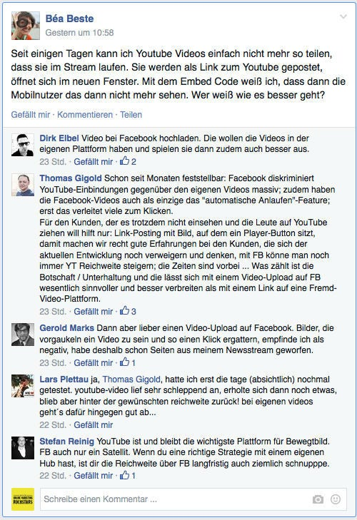 """Eine Diskussion aus der Facebook-Gruppe """"Fanpage Admins"""""""