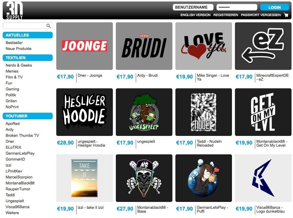 Über den Online-Shop 3dsupply können Fans Merchandising von YouTubern kaufen (Screenshot)