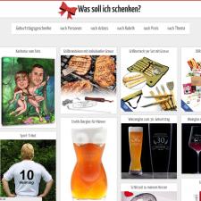 Das Design von was-soll-ich-schenken.net erinnert an Pinterest.