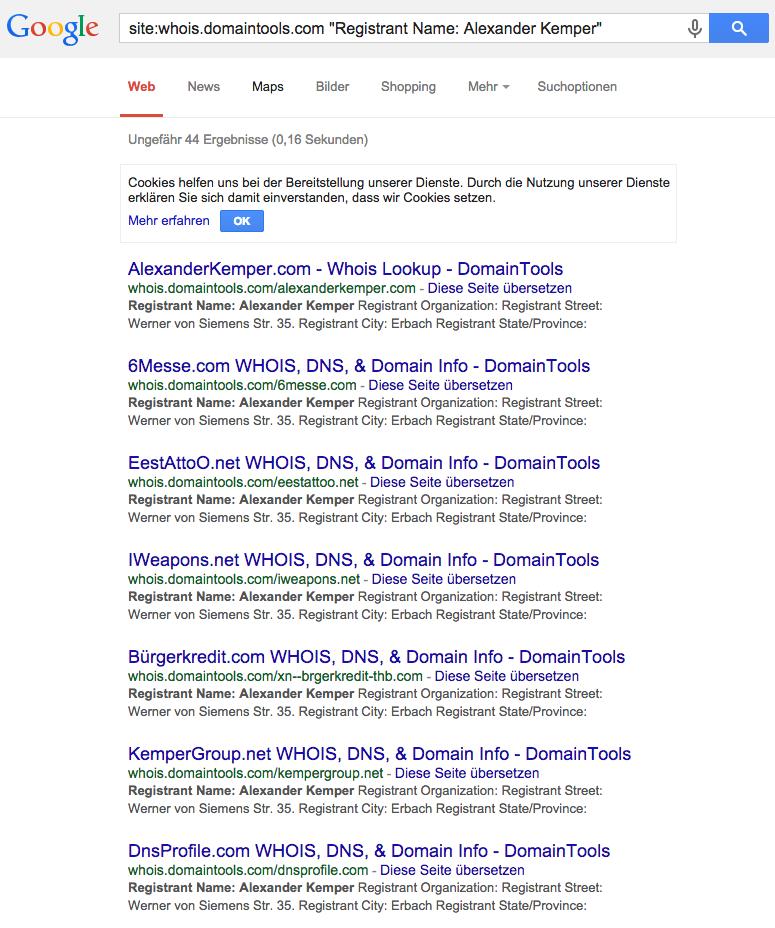 Screenshot: Whois-Abfrage über Google bei domaintools.com nach Alexander Kemper
