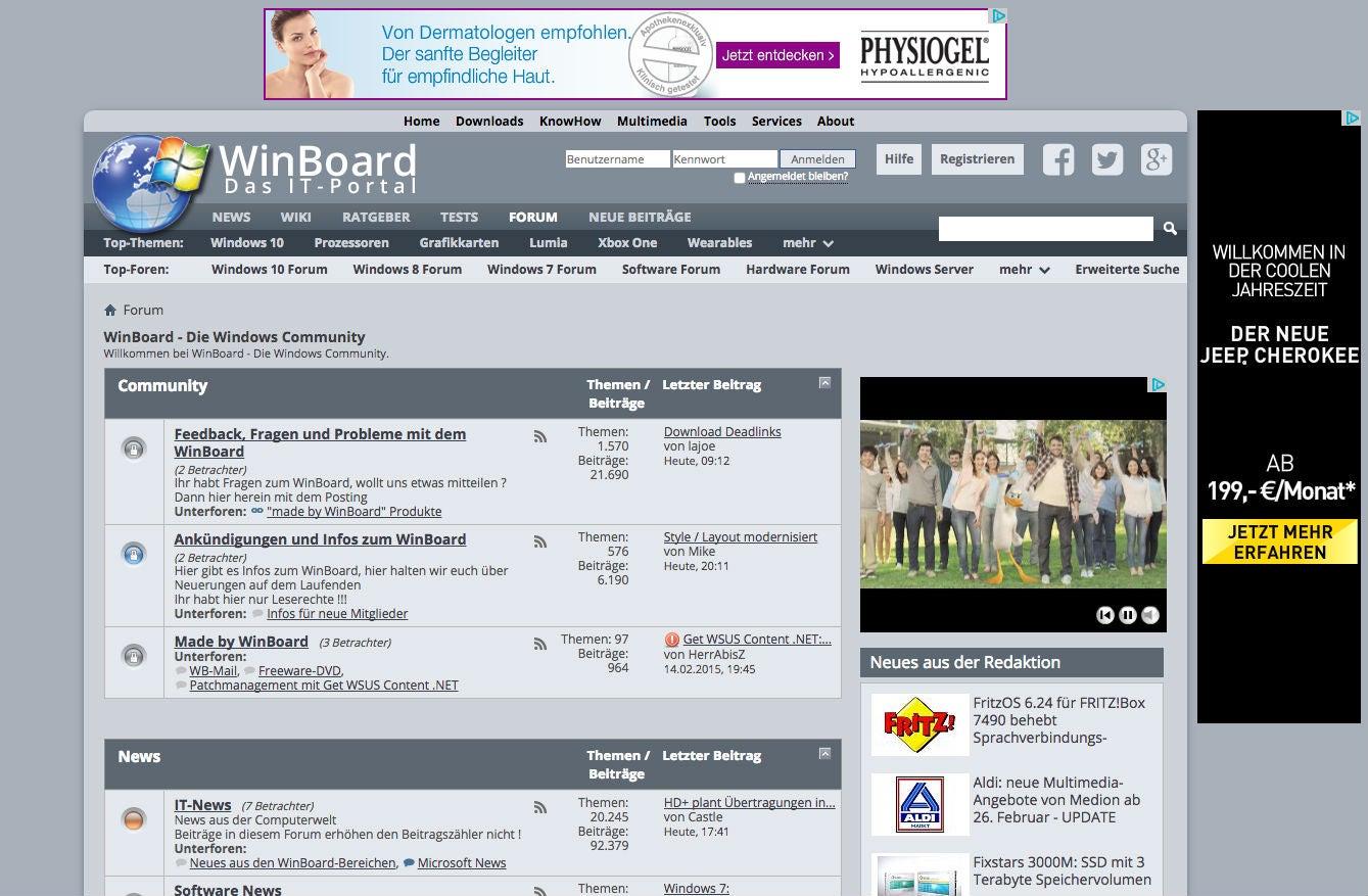 Das Forum von  winboard.org. Die Werbung bekommen nur Gast-User ausgespielt.