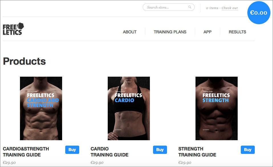 Über eine Shopify-Seite verkauften die Gründer zu Anfang über Freeletics.com drei Trainings-PDFs (Screenshot: Archive.org)