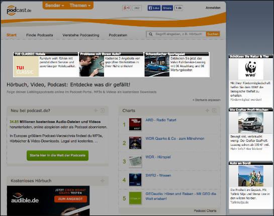 Werbung, die Tisoomi bei Podcast.de eingebunden hat (bearbeiteter Screenshot)