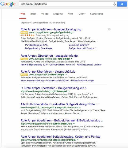 """Heute rankt Kfz.net zum Keyword """"rote ampel überfahren"""" auf dem vierten Platz"""