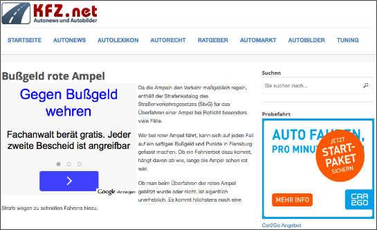 Werbung für Rechtsberatung auf Kfz.net auf der Seite über mögliche Strafen nach dem Überfahren einer roten Ampel