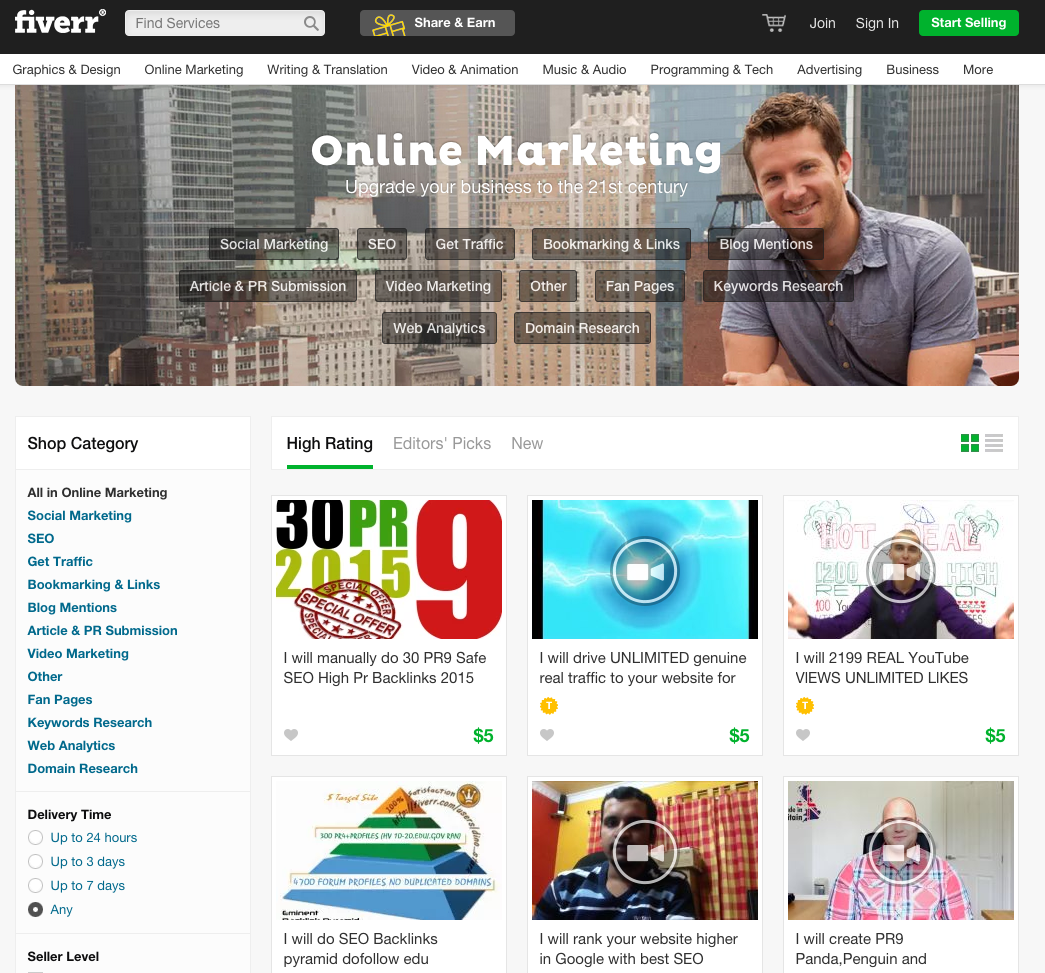 Screenshot fiverr.com: Die Top-6-Angebote der Kategorie Online Marketing.
