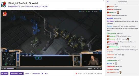 Eine Sendung von Rocket Beans TV bei Twitch – rechts der Chat, in dem sich die Zuschauer und zum Teil auch die Kanalbetreiber miteinander austauschen