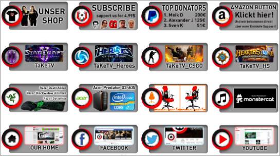 Viele Twitch-Kanalbetreiber nutzen zusätzliche Einnahmequellen wie einen eigenen Shop und Affiliate-Links – hier ein Screenshot aus dem Kanal von TakeTV