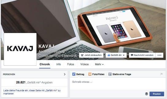 Viele Kundenanfragen erhält Kavaj über die Facebook-Seite. Entsprechend hoch ist die Priorität bei der Beantwortung.