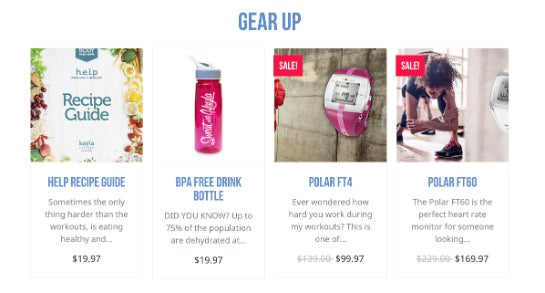 Itsines verkauft Fitness-Produkte auf der eigenen Webseite.