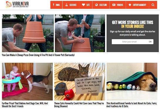 Screenshot: Startseite von ViralNova.